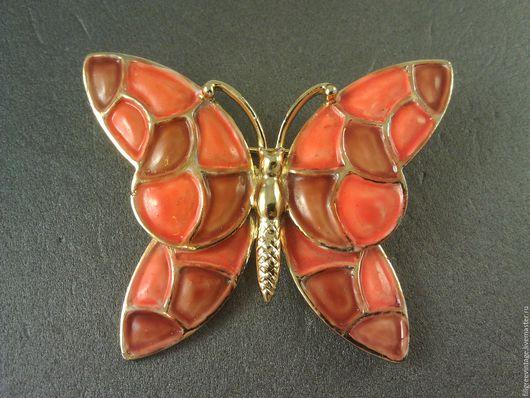 Винтажная брошь бабочка от Hollycraft с эмалью