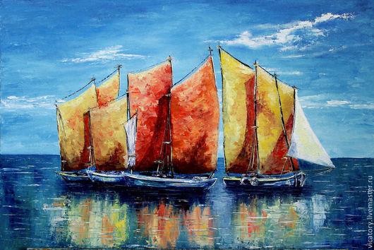 Пейзаж ручной работы. Ярмарка Мастеров - ручная работа. Купить Море. Лодки. Оранжевые паруса, картина масло. Handmade. Коралловый
