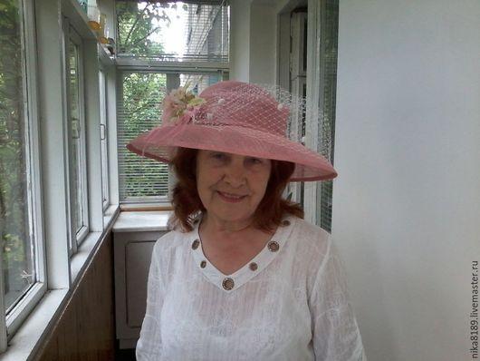 Шляпы ручной работы. Ярмарка Мастеров - ручная работа. Купить Широкополая шляпа. Handmade. Коралловый, цветы из ткани, синамей