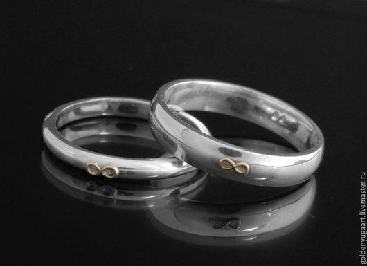 Кольца ручной работы. Ярмарка Мастеров - ручная работа. Купить Обручальные кольца Forever, белое золото 585 пробы. Handmade.