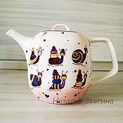 Посуда handmade. Livemaster - original item Kettles: Teapot with hand-painted Snails. Gift.. Handmade.
