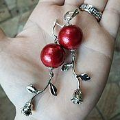 Украшения handmade. Livemaster - original item Red cotton pearl earrings - ROSE RED. Handmade.