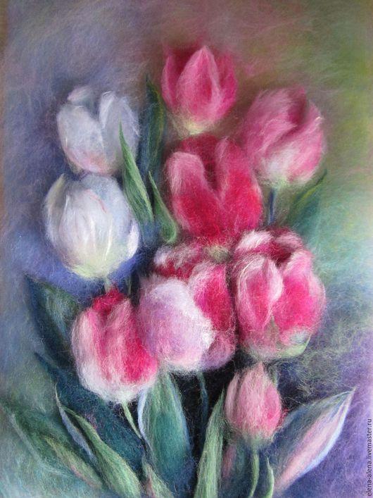 Картины цветов ручной работы. Ярмарка Мастеров - ручная работа. Купить Картина из шерсти Тюльпаны. Handmade. Розовый, тюльпаны из шерсти