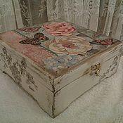 Для дома и интерьера handmade. Livemaster - original item Tea box Butterflies and flowers. Handmade.