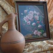 """Картины и панно ручной работы. Ярмарка Мастеров - ручная работа Вышитая картина """"Розовые розы"""". Handmade."""