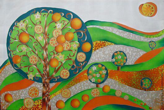 Пейзаж ручной работы. Ярмарка Мастеров - ручная работа. Купить Батик панно «Пейзаж с апельсиновым деревом» на шелке. Handmade. Рыжий