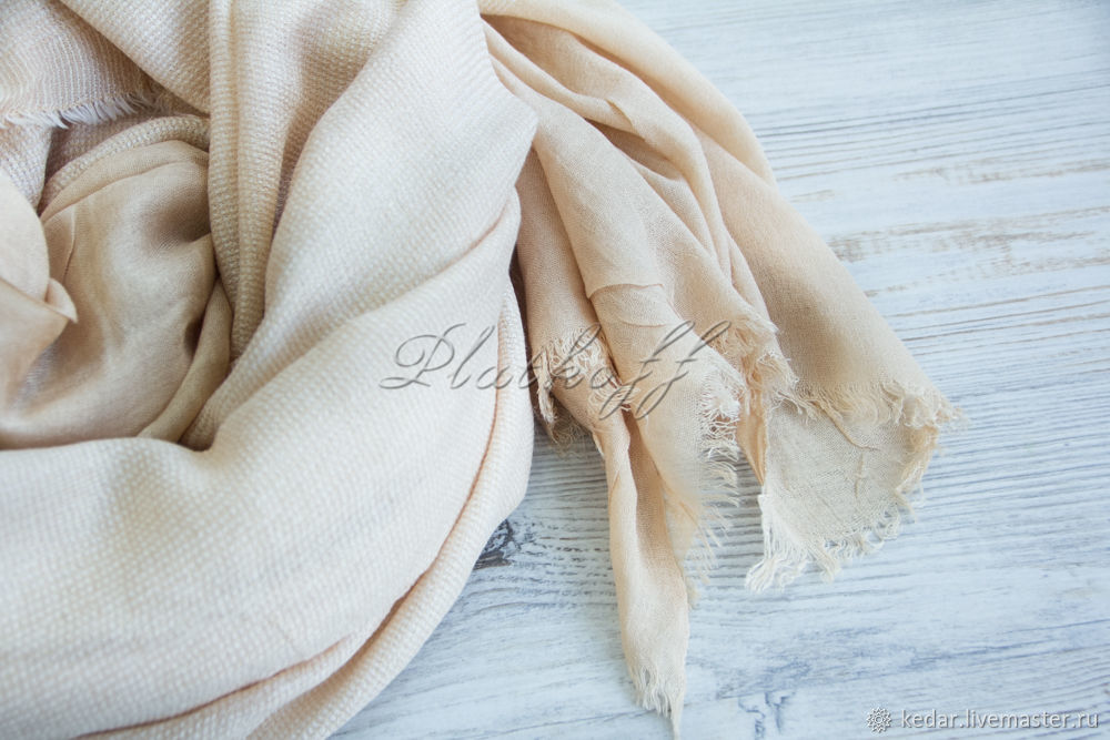 Beige and gold knitted - linen blend base scarf, Scarves, Moscow,  Фото №1