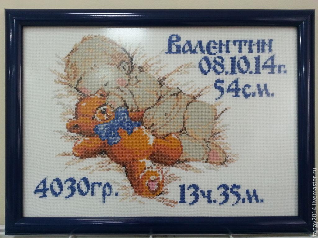 Метрика для новорожденных вышивка купить