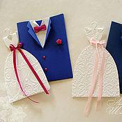 """Приглашения ручной работы. Ярмарка Мастеров - ручная работа приглашение """"Жених и Невеста-3"""" (цвет любой). Handmade."""