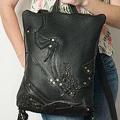 Сумки и аксессуары handmade. Livemaster - original item Black backpack, genuine leather, Caiman, Unusual black backpack.. Handmade.