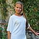 Платья ручной работы. Ярмарка Мастеров - ручная работа. Купить Платье-туника цвет Суровый с вышивкой. Handmade. Белый