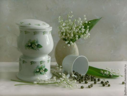 Фотокартины ручной работы. Ярмарка Мастеров - ручная работа. Купить Натюрморт Чай с ландышами. Handmade. Белый, ландыши, посуда, радость