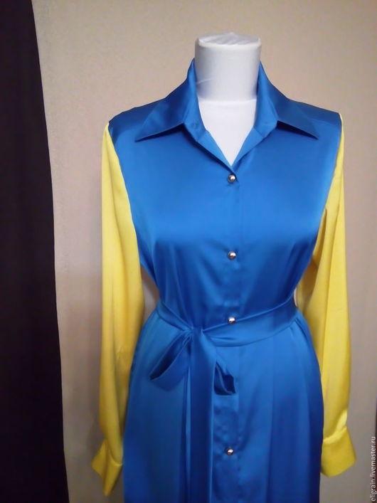 Платья ручной работы. Ярмарка Мастеров - ручная работа. Купить Платье рубашка комби цвет. Handmade. Комбинированный, длинное платье