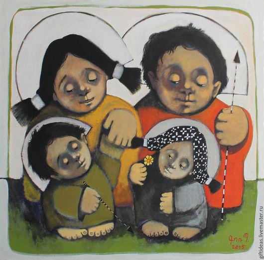Фантазийные сюжеты ручной работы. Ярмарка Мастеров - ручная работа. Купить Семейный портрет. Handmade. Белый, Семейный портрет