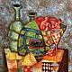 Натюрморт ручной работы. Ярмарка Мастеров - ручная работа. Купить Гранаты. Handmade. Разноцветный, картина маслом, картина для интерьера