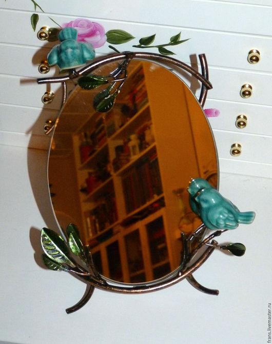 Зеркала ручной работы. Ярмарка Мастеров - ручная работа. Купить Зеркало настольное Бирюзовые Птички. Handmade. Бирюзовый, Зеркало в подарок