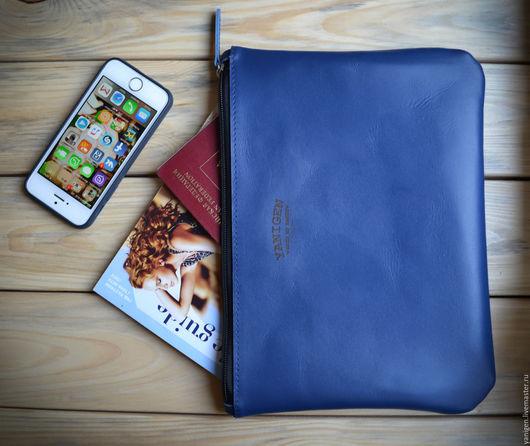 Органайзеры для сумок ручной работы. Ярмарка Мастеров - ручная работа. Купить Клатч из натуральной кожи, ручной работы, чехол для iPad (Air, mini). Handmade.