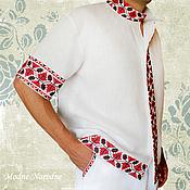 Русский стиль ручной работы. Ярмарка Мастеров - ручная работа Рубашки коротким рукавом ХМЕЛЬ Льняная рубашка Красно-белый Вышиванки. Handmade.
