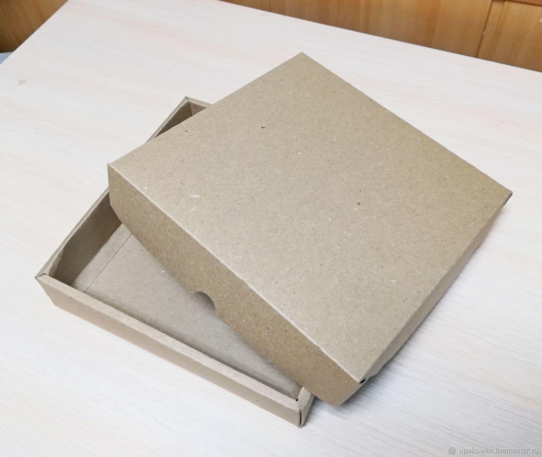 Коробка 20х20х4 формат крышка дно картонная крафт, Коробки, Архангельск,  Фото №1
