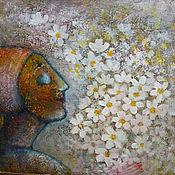 Картины и панно ручной работы. Ярмарка Мастеров - ручная работа Картина коллаж Белые  цветы девушка. Handmade.