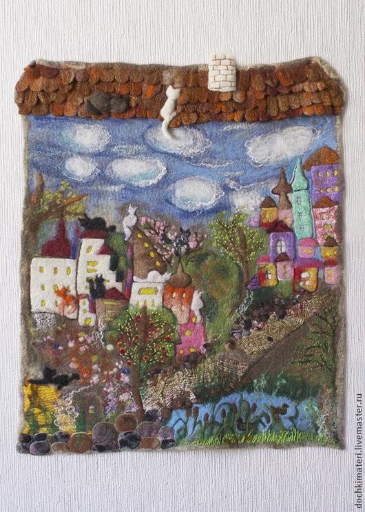 """Город ручной работы. Ярмарка Мастеров - ручная работа. Купить Панно """"Город влюбленных"""". Handmade. Разноцветный, панно для интерьера, город"""