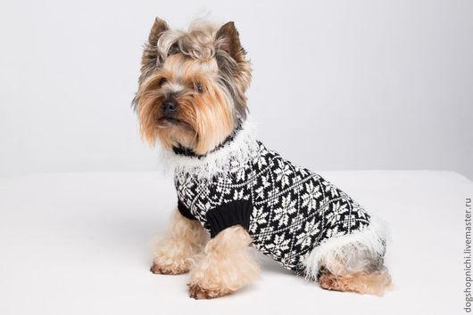 Одежда для собак, ручной работы. Ярмарка Мастеров - ручная работа. Купить свитер для собак - Снежинка. Handmade. Чёрно-белый, снежинка