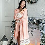 Одежда handmade. Livemaster - original item Bathrobes: Kimono robe with lace. Handmade.