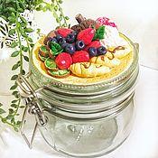Для дома и интерьера handmade. Livemaster - original item Glass jar with a decor of berries and sweets made of polymer clay. Handmade.