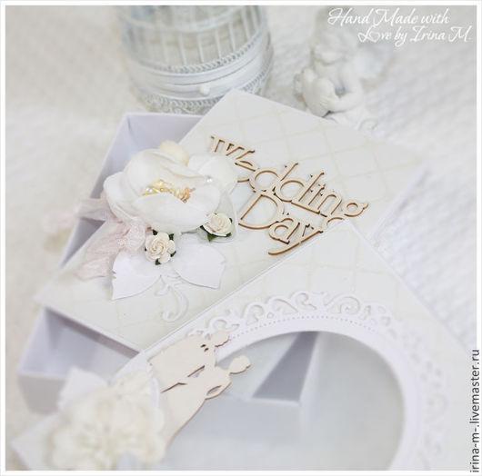 Подарки на свадьбу ручной работы. Ярмарка Мастеров - ручная работа. Купить Свадебный комплект: открытка в коробочке. Handmade. Белый