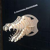 Скульптуры ручной работы. Ярмарка Мастеров - ручная работа Голова животного из фанеры (Крокодил). Handmade.