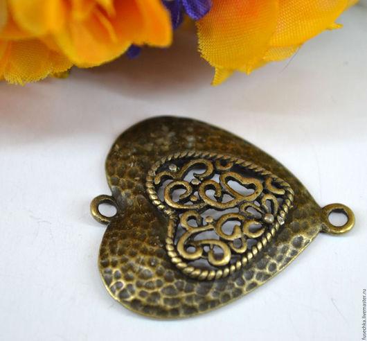 Для украшений ручной работы. Ярмарка Мастеров - ручная работа. Купить Коннектор под бронзу Сердце. Handmade. Комбинированный