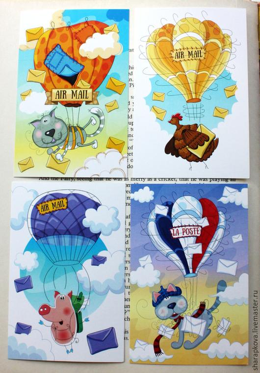 Открытки для посткроссинга. Почтовые карточки 4 шт. на тему `Air-mail`