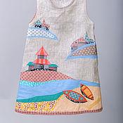 """Работы для детей, ручной работы. Ярмарка Мастеров - ручная работа Детский сарафан """"Белое море"""". Handmade."""