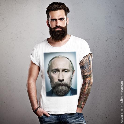 Футболки, майки ручной работы. Ярмарка Мастеров - ручная работа. Купить Путин с бородой. Handmade. Футболка с рисунком, подарок, олимпиада