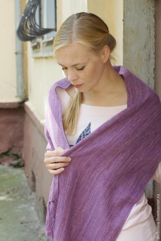Шарфы и шарфики ручной работы. Ярмарка Мастеров - ручная работа. Купить Шарф женский домотканый фиолетовый. Handmade. Фиолетовый