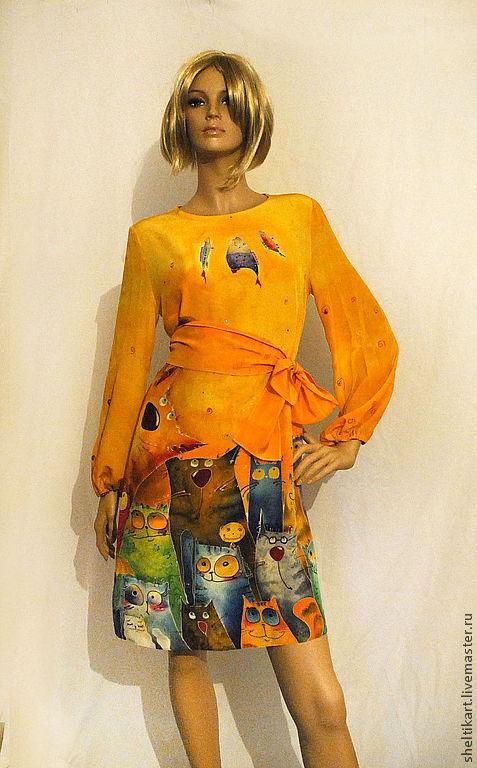 """Платья ручной работы. Ярмарка Мастеров - ручная работа. Купить Платье Батик """" Котовасия 2"""". Handmade. Оранжевый"""