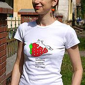 Одежда handmade. Livemaster - original item Women`s Strawberry t-shirt, funny Fox t-shirt, white t-shirt. Handmade.
