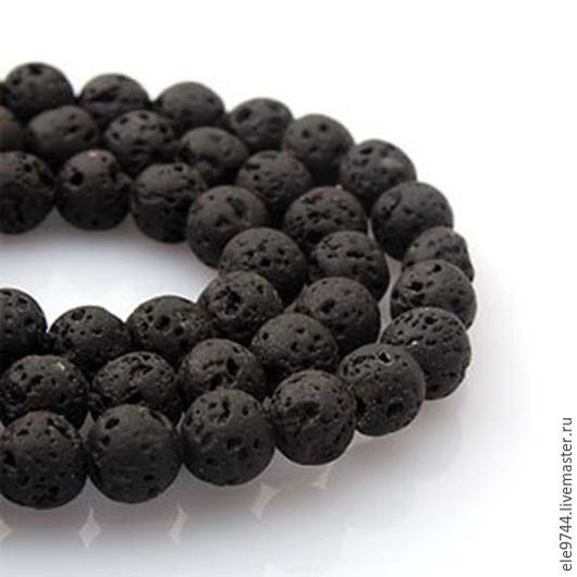 Для украшений ручной работы. Ярмарка Мастеров - ручная работа. Купить Лава натуральная черная бусины нить ( 4 размера). Handmade.