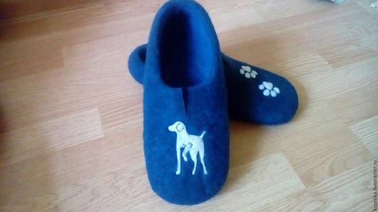 Обувь ручной работы. Ярмарка Мастеров - ручная работа. Купить Doggy - валяные тапочки. Handmade. Тёмно-синий, домашняя обувь