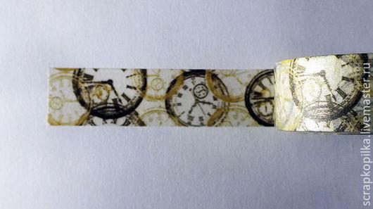 """Открытки и скрапбукинг ручной работы. Ярмарка Мастеров - ручная работа. Купить Бумажный скотч """"Часы винтаж"""" 15мм х 10м. Handmade."""