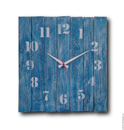Часы для дома ручной работы. Ярмарка Мастеров - ручная работа. Купить Синие, большие, деревянные часы. Handmade. Синий
