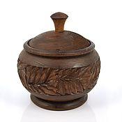 Посуда handmade. Livemaster - original item Jar-Cup made of wood carved. Handmade.