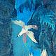 """Шали, палантины ручной работы. Нуновойлочный палантин """"Море и небо, птицы и рыбы"""". Марина Зарудная (zamanik). Ярмарка Мастеров."""