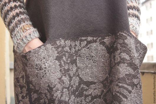 Платья ручной работы. Ярмарка Мастеров - ручная работа. Купить Валяное платье Горький шоколад. Handmade. Коричневый, свободный крой