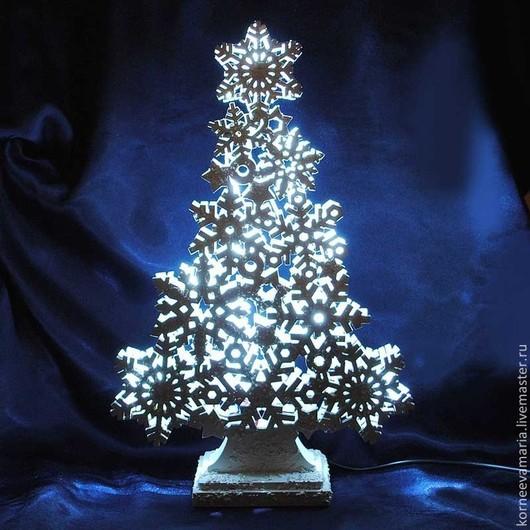 Новый год 2017 ручной работы. Ярмарка Мастеров - ручная работа. Купить Декоративный светильник «Новогодняя елка». Handmade. Белый, свет