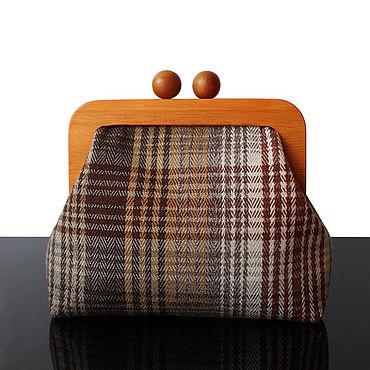 Bags and accessories handmade. Livemaster - original item Fall Tweed bag Tweed handbag on wooden clasp. Handmade.
