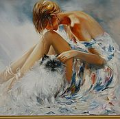 Картины и панно ручной работы. Ярмарка Мастеров - ручная работа девушка с кошкой. Handmade.