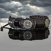 Украшения handmade. Livemaster - original item Aura Hypersthene and Onyx mens Wide Leather bracelet with stone. Handmade.