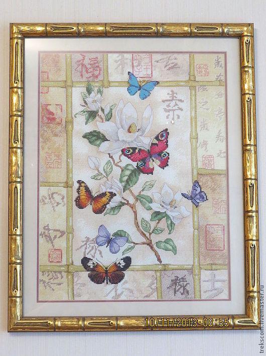 """Натюрморт ручной работы. Ярмарка Мастеров - ручная работа. Купить Вышивка крестом """"Сверкающие бабочки"""". Handmade. Бабочки, картина для интерьера"""