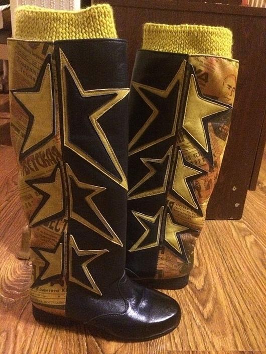 """Обувь ручной работы. Ярмарка Мастеров - ручная работа. Купить Сапоги """"Звездная пыль"""". Handmade. Сапоги, звезды, вязка"""